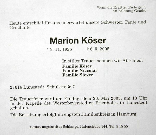 zum tode von marion köser / chronik der gemeinde lunestedt, Einladung